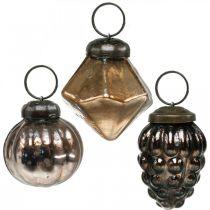 Mini palline di Natale, diamante / palla / cono, pendenti in vetro mescolano aspetto antico Ø3–3,5 cm H4,5–5,5 cm 9 pezzi
