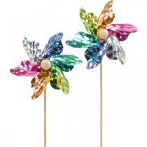 Mini girandola, decorazione per feste, mulino a vento sull'asta colorato, decorazione per il giardino, tappo per fiori Ø8,5 cm 12 pezzi