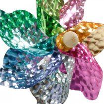Mulino a vento, decorazione estiva, girandola sull'asta colorata, decorazione per festa di compleanno per bambini Ø16cm 4 pezzi