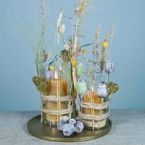 Capsule di papavero artificiale giallo, marrone 6 pezzi