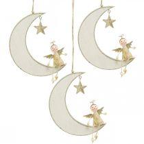 Decorazione dell'Avvento, angelo sulla luna, decorazione in legno da appendere bianca, dorata H14.5cm W21.5cm 3 pezzi