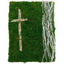 Viti di muschio e croce per la sistemazione della tomba verde, bianco 40 × 30 cm
