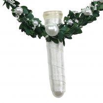 Cuore di mirto con nastro, perle, tubi bianchi 4 pezzi
