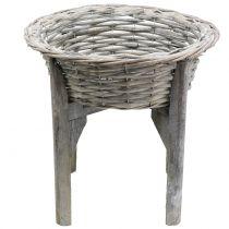 Ciotola cestino con supporto in legno grigio, bianco lavato Ø40cm