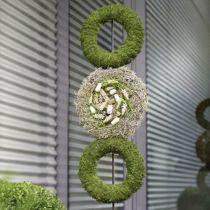 Corona di anelli in schiuma floreale grigia H3cm Ø20cm 6 pezzi
