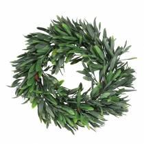 Corona d'ulivo verde artificiale Ø28cm decoro mediterraneo
