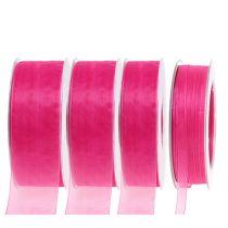 Nastro di organza con cimosa 50m rosa
