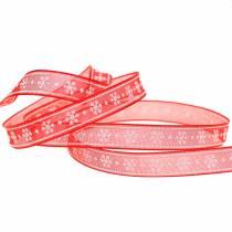 Nastro in organza con fiocco di neve rosso 10mm 20m