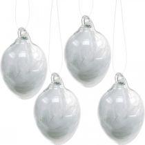 Decorazione pasquale da appendere, uovo in vetro con piume, mini uovo pasquale, decorazione primaverile 8pz