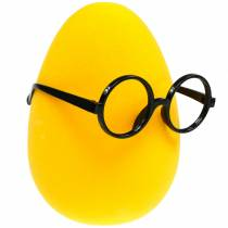 Uovo di Pasqua giallo con bicchieri, uovo decorazione floccata, decorazione pasquale