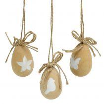 Uova di Pasqua in legno con motivi 8 pezzi