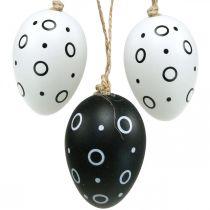 Uova di Pasqua con anelli e punti, decorazione primaverile, decorazione pasquale monocromatica 6pz