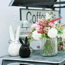 Coniglietto pasquale con bicchieri in madreperla bianca H20cm