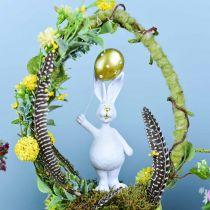 Coniglietto pasquale con palloncino in piedi oro bianco H18cm 2 pezzi