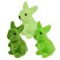 Coniglietto pasquale floccato verde 9,5 cm mix 9 pezzi