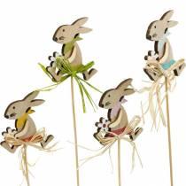 Coniglietto pasquale con fiore, decorazione coniglietto per Pasqua, coniglietto su un bastone, molla, tassello decorativo in legno 12 pezzi