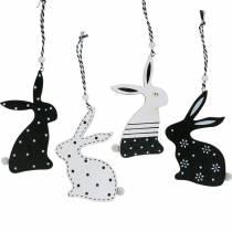 Coniglietto di Pasqua da appendere coniglietto di decorazione in legno bianco e nero Decorazione di Pasqua 12 pezzi