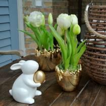 Tulipano pappagallo in vaso Bianco Real-Touch 23 cm
