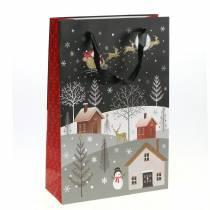 Sacchetto regalo Sacco di carta Villaggio di Natale H30cm 2 pezzi