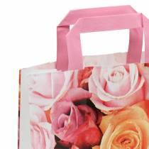 Sacco di carta rosa 22 cm x 10 cm x 28 cm 25 pezzi