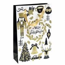 """Sacchetto regalo Sacco di carta """"Merry Christmas"""" Glitter oro H30cm 2 pezzi"""