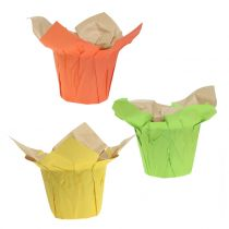 Vasi di carta verde, arancione, giallo Ø10cm 12 pezzi