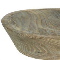 Ciotola decorativa in legno di paulownia ovale 44 cm x 19 cm H8 cm