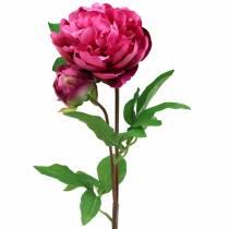 Fiore artificiale di peonia con fiore e bocciolo viola magenta 68 cm