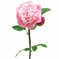 Peonia artificiale con fiore e bocciolo Rosa 68 cm