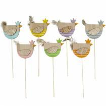 Spina vegetale pollo decorazione colorata spina gallina in legno decorazione pasquale 14 pezzi