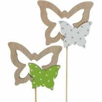 Tappo per piante farfalla su bastone decorazione primaverile in legno 16pz