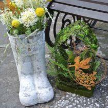 Stivaletti fioriera ape metallo bianco decorazione giardino vintage H31cm