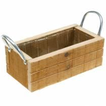 Cassetta per piante in legno con manici Cassetta in legno naturale 23,5 × 12 cm