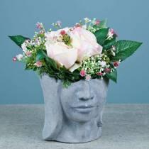 Piantare il busto della testa in cemento per piantare grigio H14,5cm 2 pezzi