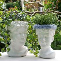 Testa di pianta busto donna vaso in ceramica bianca vaso da fiori H22,5cm