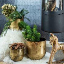 Vaso da fiori dall'aspetto antico con manici in metallo H17 / 19,5/26 cm, set di 3