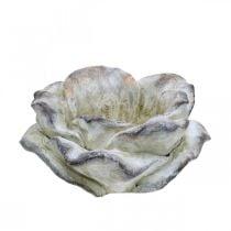 Fiore di rosa da piantare, fiori funebri, rosa di pietra, decorazione in cemento grigio, albicocca, viola Ø11cm L22cm H9cm