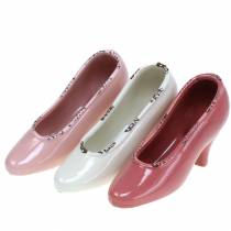 Scarpa da donna per fioriera in ceramica crema, rosa, rosa assortita 20 × 6 cm H12 cm 3 pezzi
