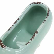 Scarpe da fioriera da donna in ceramica turchese, verde, blu grigio assortiti 14 × 5 cm H7 cm 6 pezzi