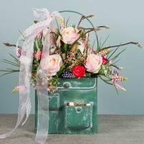 Borsa fioriera con manico in metallo verde, bianco lavato H20cm
