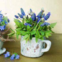 Vaso per fioriera coppa vintage grigio, argilla naturale Ø8,5cm H8cm 4 pezzi
