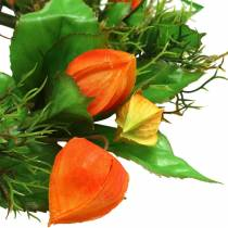 Physalis ghirlanda artificiale arancione, verde Ø28cm decorazione autunnale