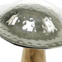 Fungo decorativo metallo legno argento, figura decorativa natura autunno 18cm