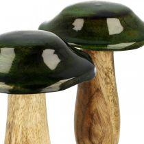 Decorazione autunnale in legno di mango verde fungo in legno Ø9cmH11cm 2 pezzi