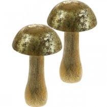 Fungo legno di mango oro, fungo decorativo naturale Ø9cm H15.5cm 2 pezzi