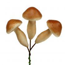 Funghi su filo marrone 7 cm 18 pezzi