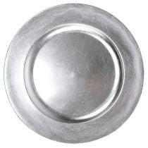 Piatto in plastica 25 cm argento con effetto foglia argento