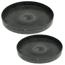 Set 2 piatti di plastica grigio Ø22cm - 27cm