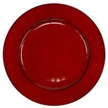 Piatto in plastica Ø33cm rosso-nero