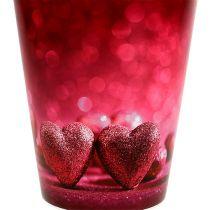 Vaso in plastica con cuore Rosa Ø12cm H13,5cm 1pz